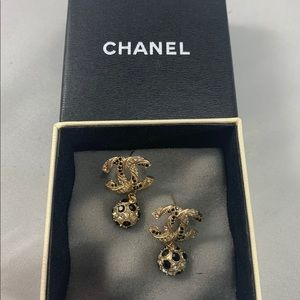 CHANEL Gold CC Orb Drop Black & White Crystal